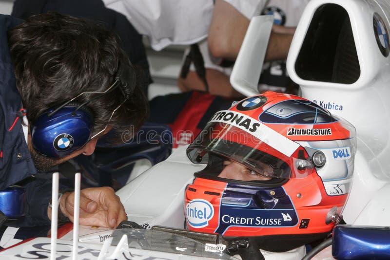 F1 2007 - Robert Kubica BMW Sauber royaltyfria foton