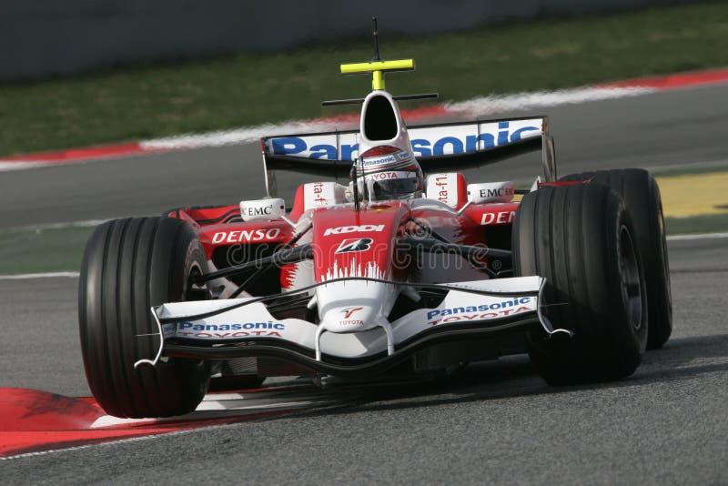F1 2008 - Jarno Trulli Toyota royalty-vrije stock fotografie