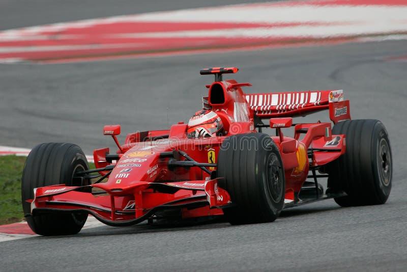 F1 2008 - Kimi Raikkonen Ferrari lizenzfreie stockbilder