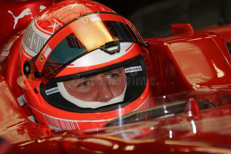 F1 2008 - Michael Schumacher Ferrari stock foto's