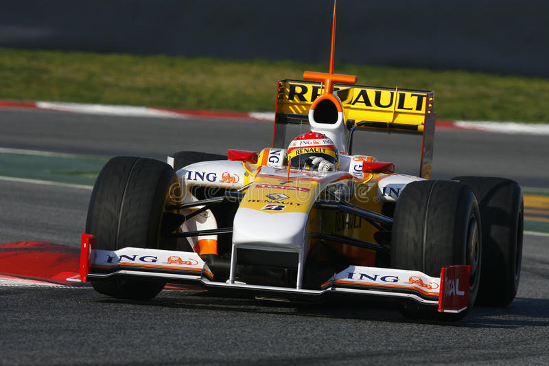 F1 2009 - Fernando Alonso Renault royalty-vrije stock afbeeldingen