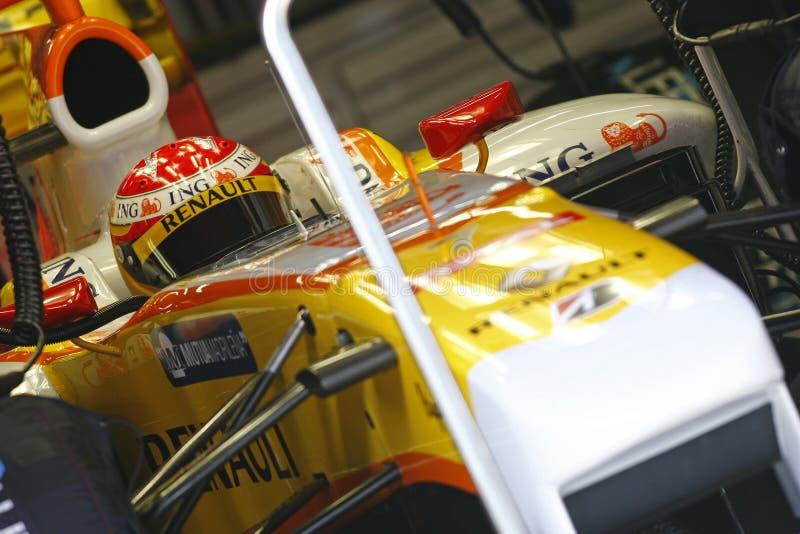 F1 2009 - Fernando Alonso Renault image libre de droits