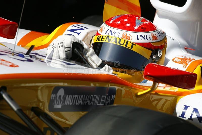 F1 2009 - Fernando Alonso Renault photo stock