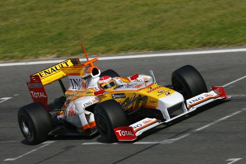 F1 2009 - Fernando Alonso Renault photo libre de droits