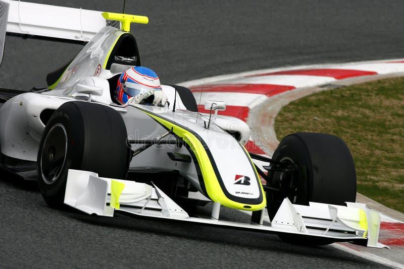 F1 2009 - GP do Brawn de Jenson Button imagens de stock