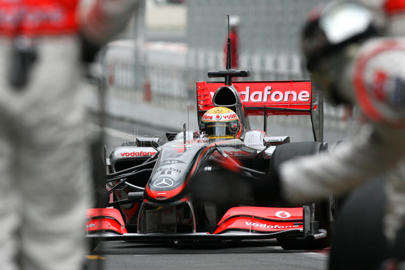 F1 2009 - Lewis Hamilton McLaren fotos de stock royalty free