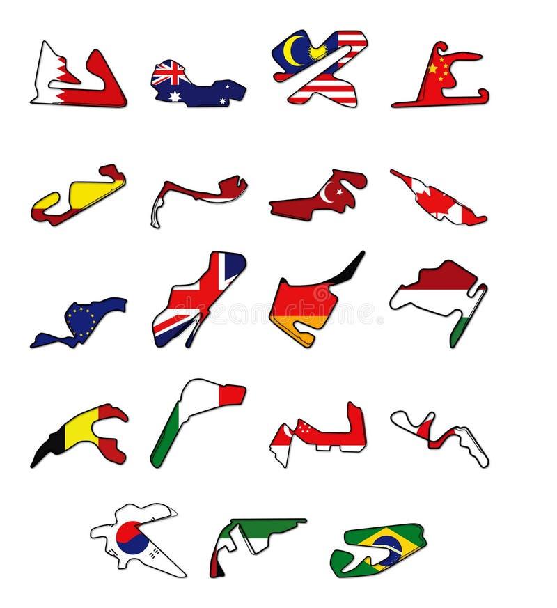 F1 de kalender van 2010 royalty-vrije illustratie