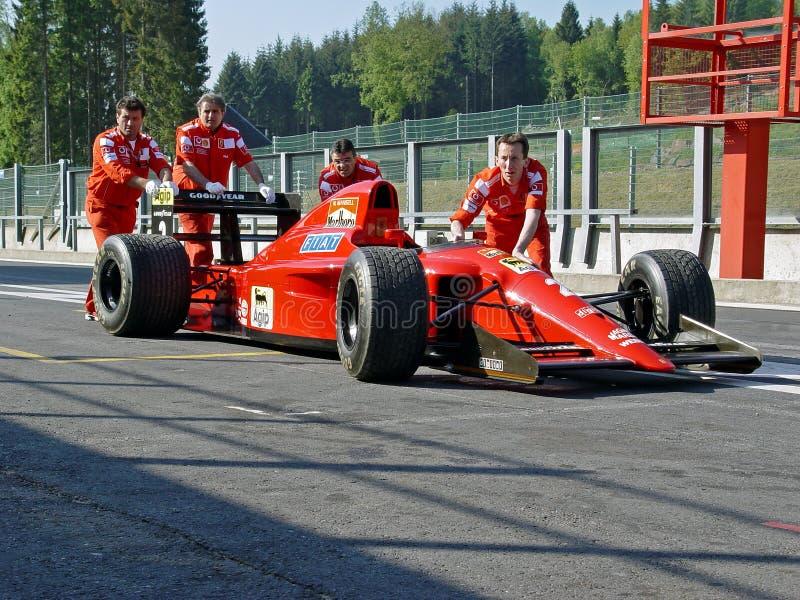 f1 manssel Ferrari Nigel pchający obraz royalty free