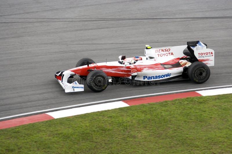 F1 Rennend 2009 - Timo Glock (Toyota dat rent) stock foto