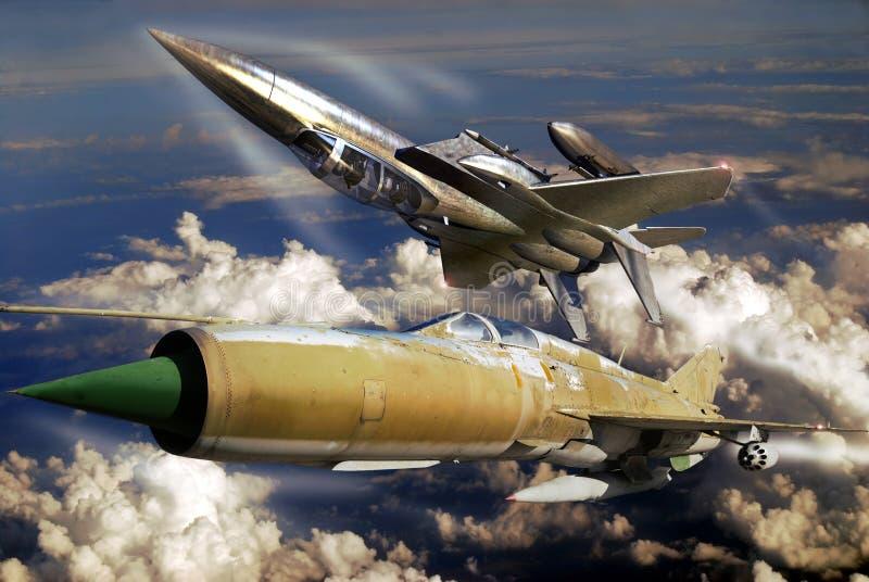 F15 contro MIG 21 illustrazione vettoriale