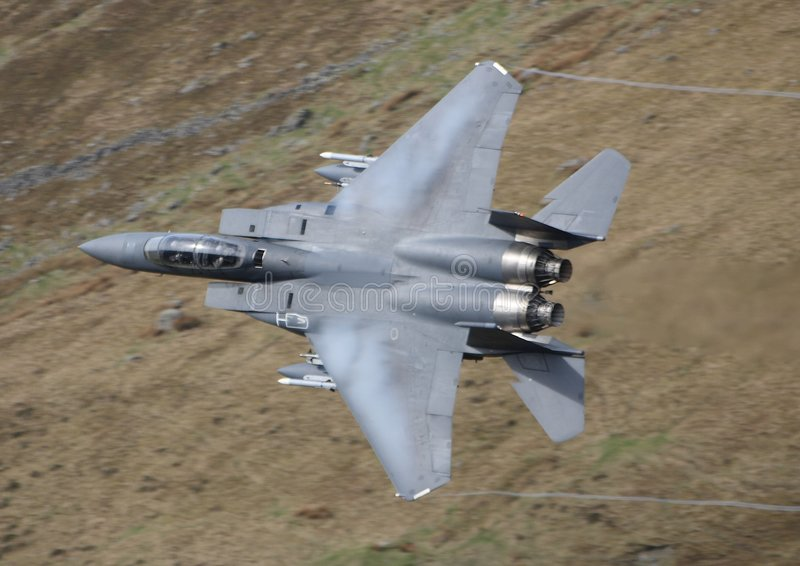 F15 Eagle. An F15 Eagle in a Welsh Valley royalty free stock images