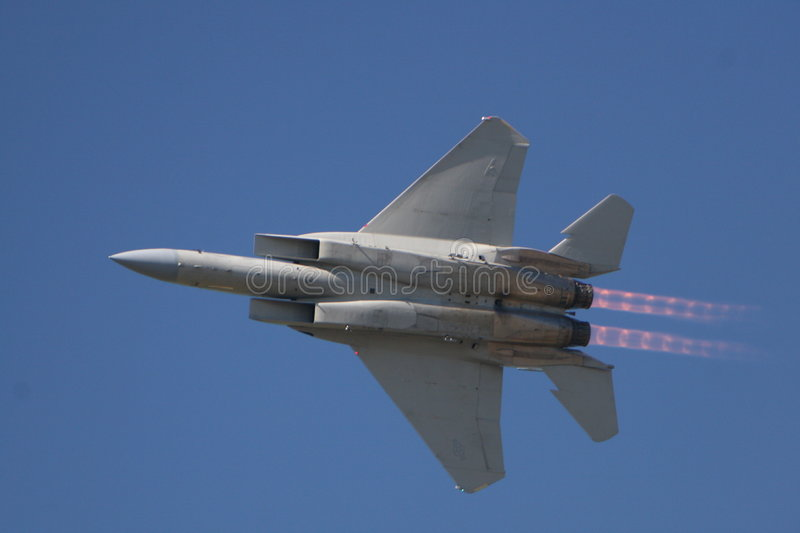 F15 In Flight. This photo was taken at the Port Saint Lucie FL Air Show Wings -N- Wheels stock photo