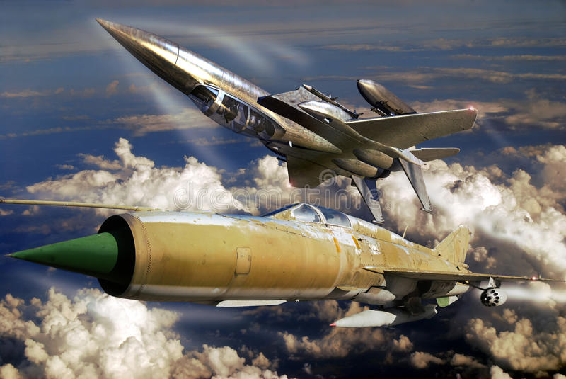 F15 tegenover Mig 21 vector illustratie