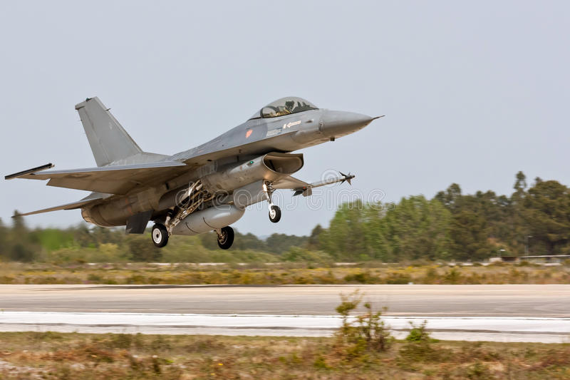 F16 Portuguese taking off. MONTE REAL, PORTUGAL-APRIL 7: F16 Portuguese taking off. Participating in Real Thaw Nato exercise at Base N.5 MONTE REAL,integrated stock image