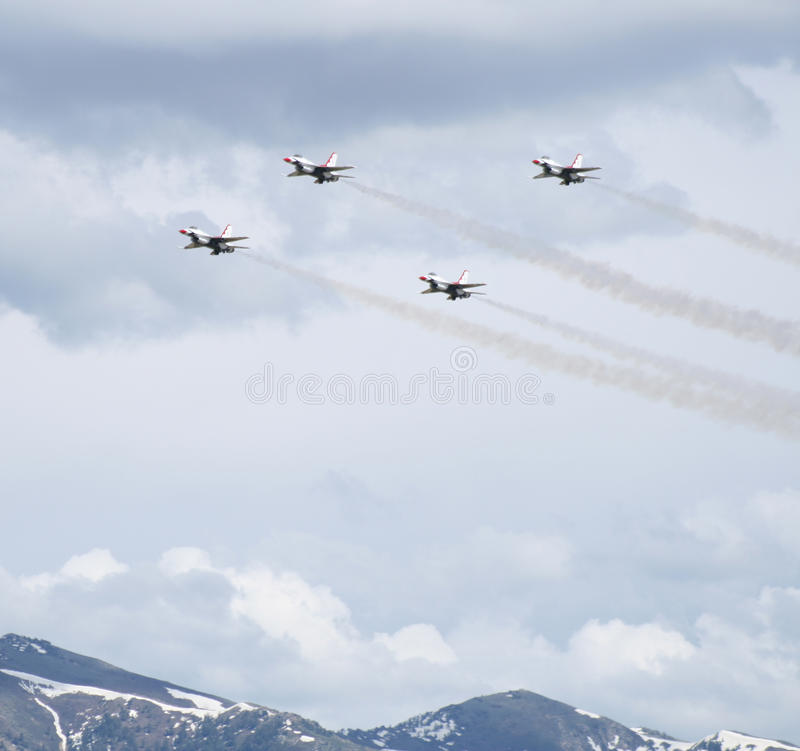 F16 Thunderbirds at a Utah airshow royalty free stock photography