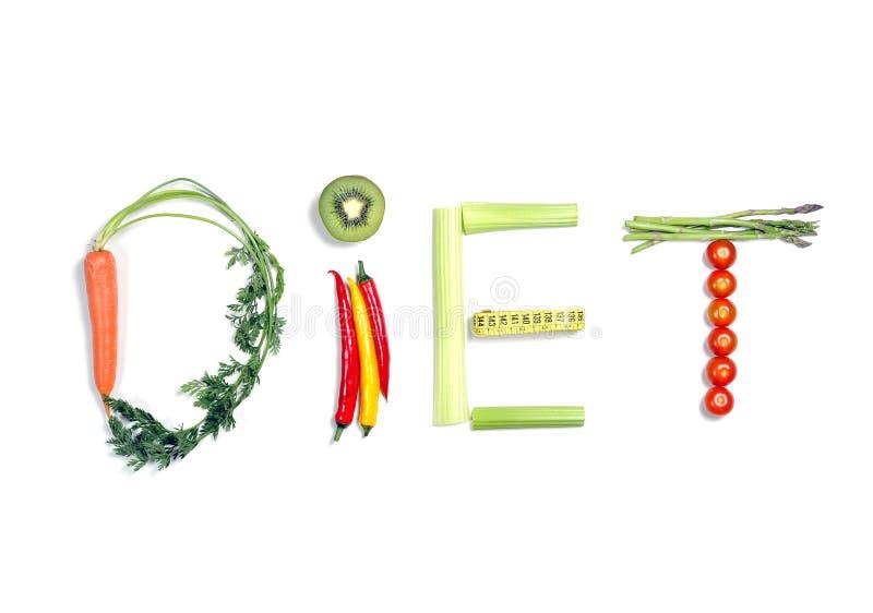 Faça dieta escrito com os vegetais no conceito saudável da nutrição imagem de stock