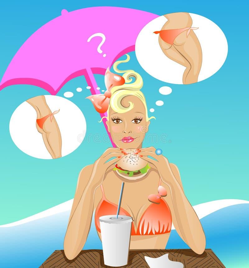 Faça dieta a menina ilustração do vetor