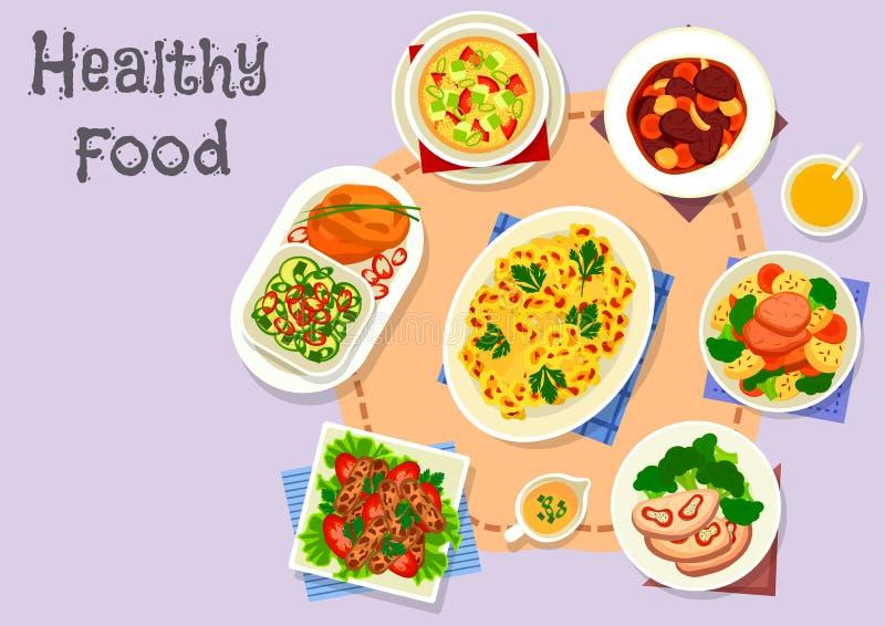 Faça dieta o ícone do menu com os pratos do vegetal e da carne ilustração stock