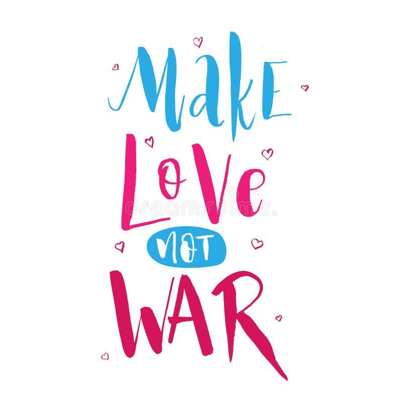Faça a guerra do amor não Sinal retro do texto da hippie da rotulação sobre a paz ilustração stock