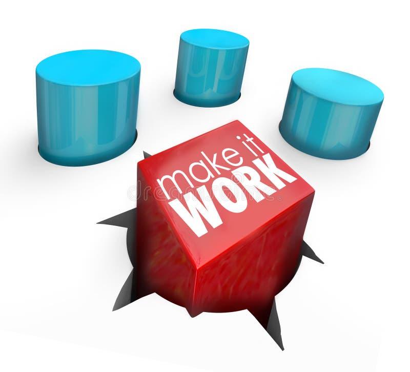 Faça-lhe a força de trabalho quadrado apto Peg Round Hole da solução do desafio ilustração royalty free