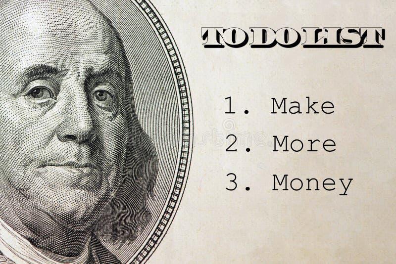 Faça mais dinheiro dentro para fazer a lista, conceito do negócio no fundo do dólar imagem de stock royalty free