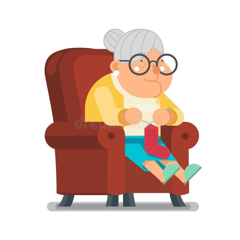 Faça malha a peúga de lãs para a ilustração lisa do vetor do projeto dos desenhos animados do caráter de Sit Rest Granny Old Lady ilustração royalty free