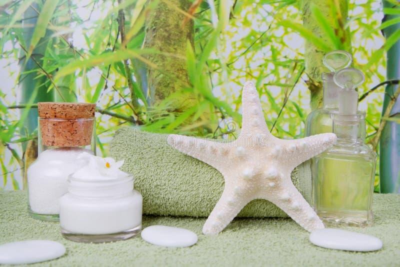 Faça massagens óleos e sal do mar da morte para a decoração dos termas imagens de stock royalty free