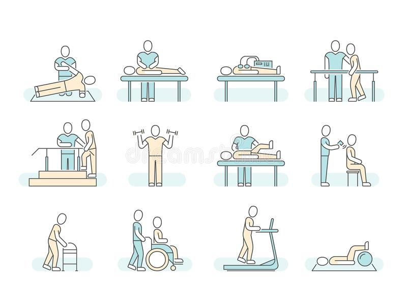 Faça massagens a linha ícones médicos do vetor da fisioterapia dos termas da terapia Símbolos terapêuticos ilustração do vetor