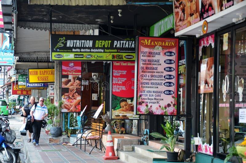 Faça massagens a loja da estrada de Roadbeach da praia em Pattaya Tailândia imagens de stock