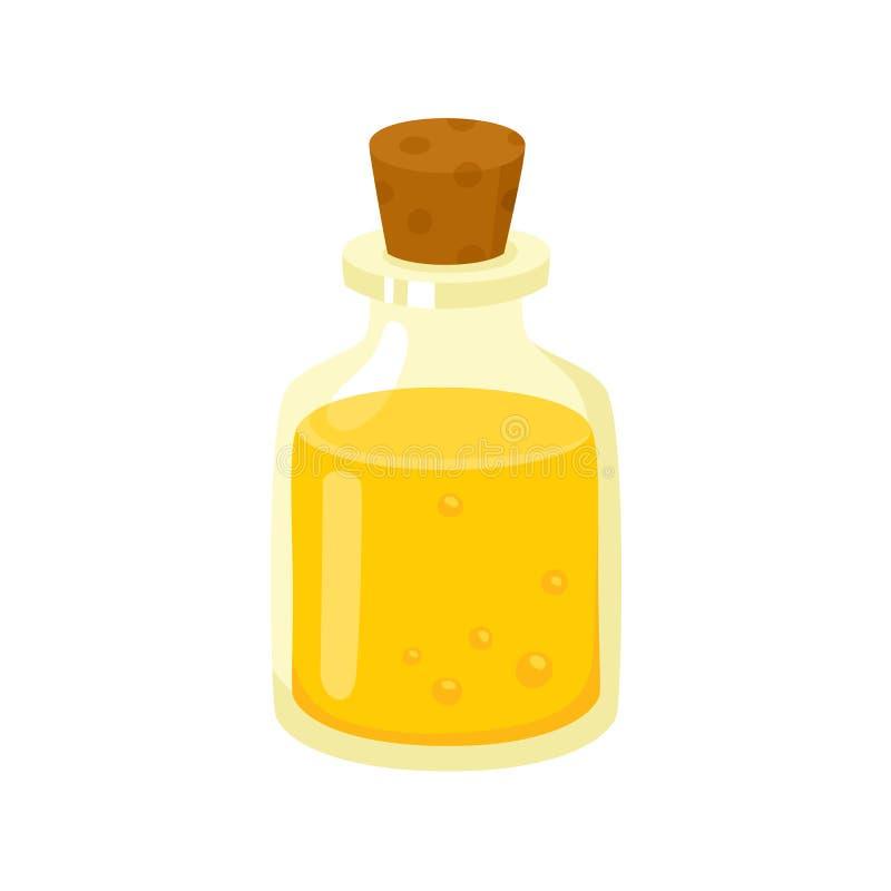 Faça massagens o óleo na garrafa de vidro com cortiça, acessório do salão de beleza dos termas ilustração stock