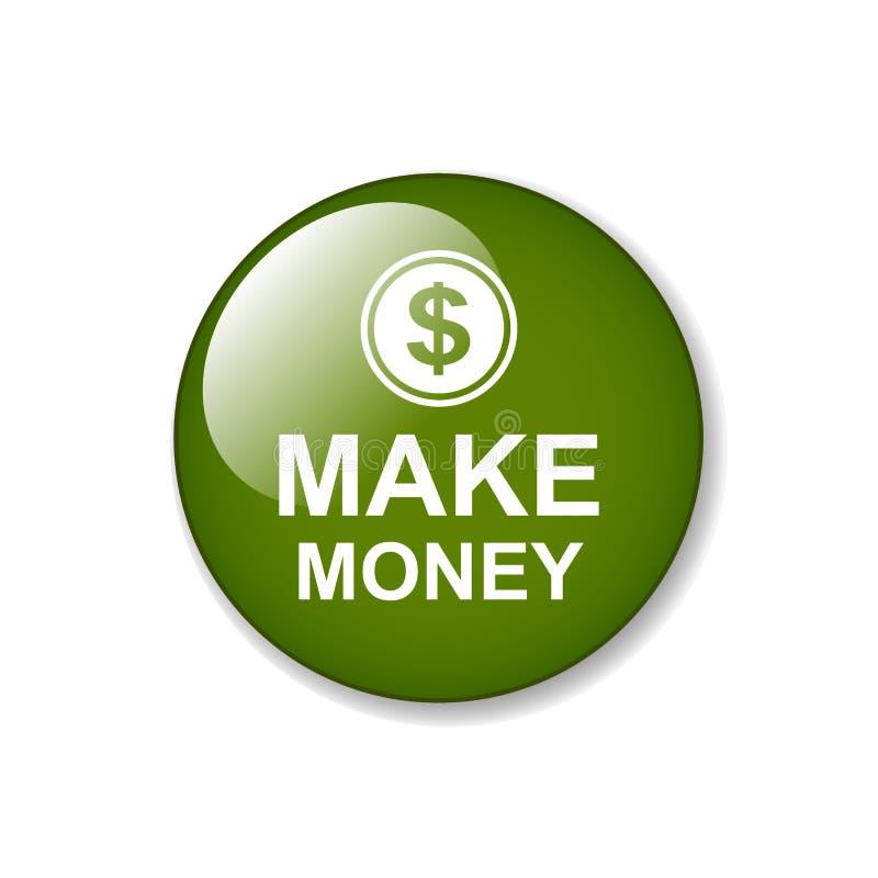 Faça o botão da Web do dinheiro ilustração stock