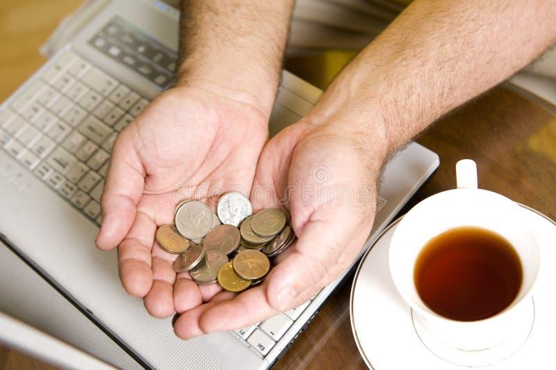 Faça o dinheiro com computador! fotografia de stock