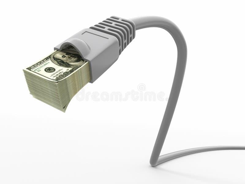Faça o dinheiro em linha. Conceito. Cabo do Internet com dólares ilustração royalty free