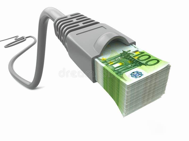 Faça o dinheiro em linha. Conceito. Cabo do Internet com euro ilustração stock