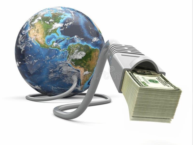 Faça o dinheiro em linha. Conceito. Terra e cabo do Internet com dinheiro. ilustração royalty free