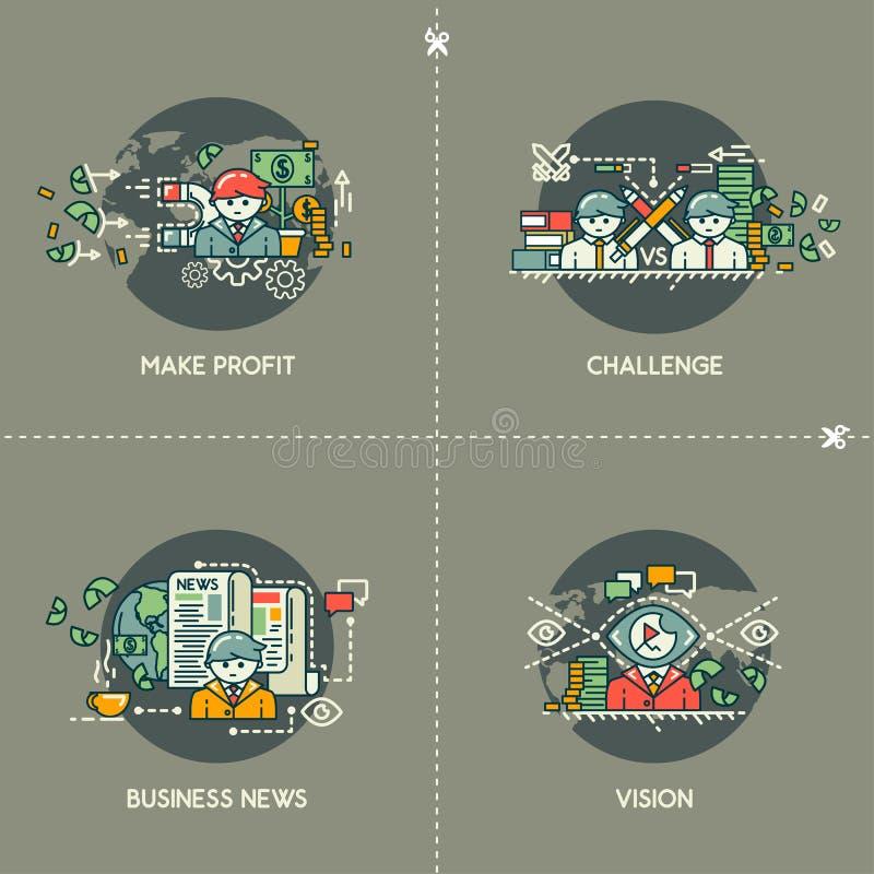 Faça o lucro, desafio, Business News, visão ilustração royalty free