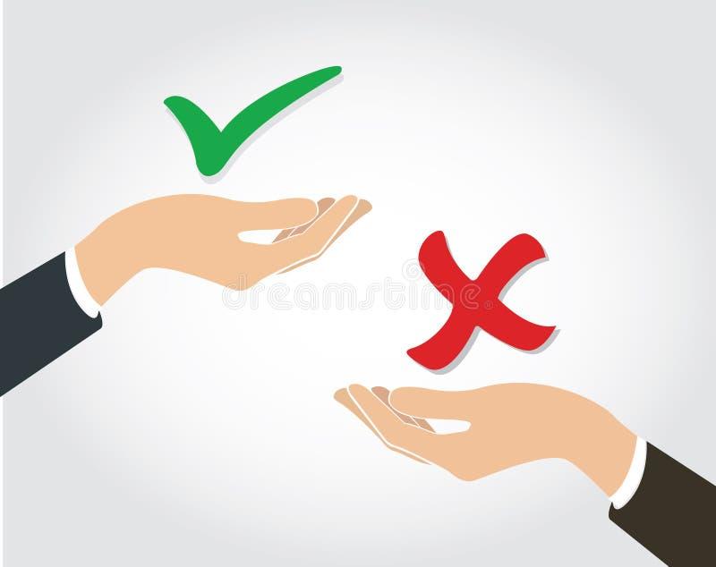 Faça o vetor da decisão, o verdadeiro ou o falso ilustração royalty free