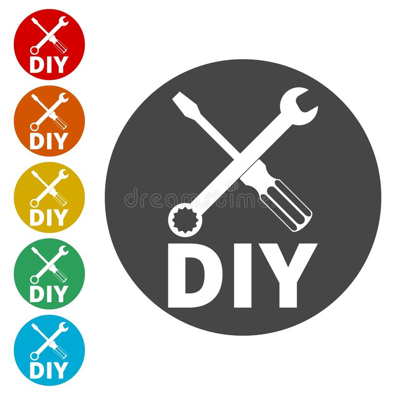 Faça-o você mesmo ícone, ícone de DIY ilustração stock