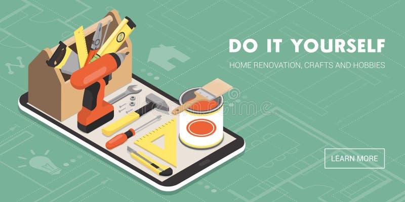 Faça-o você mesmo e renovação home app ilustração do vetor