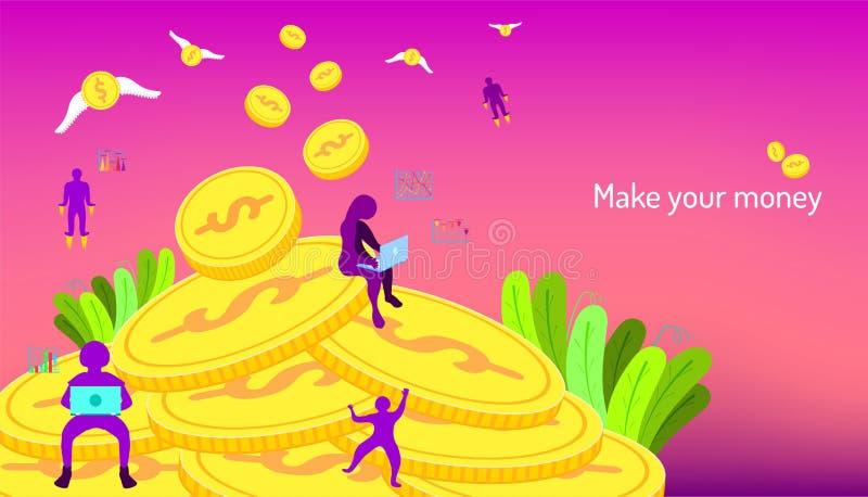 Faça seu dinheiro gestão seu negócio que introduz no mercado em qualquer lugar fundo da cor da beleza Ilustra??o EPS10 do vetor ilustração do vetor