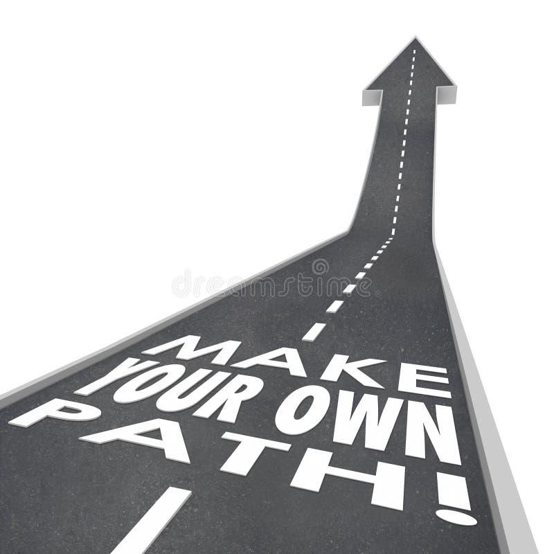 Faça a seu próprio sucesso da estrada das palavras 3D do trajeto o desafio original ilustração royalty free