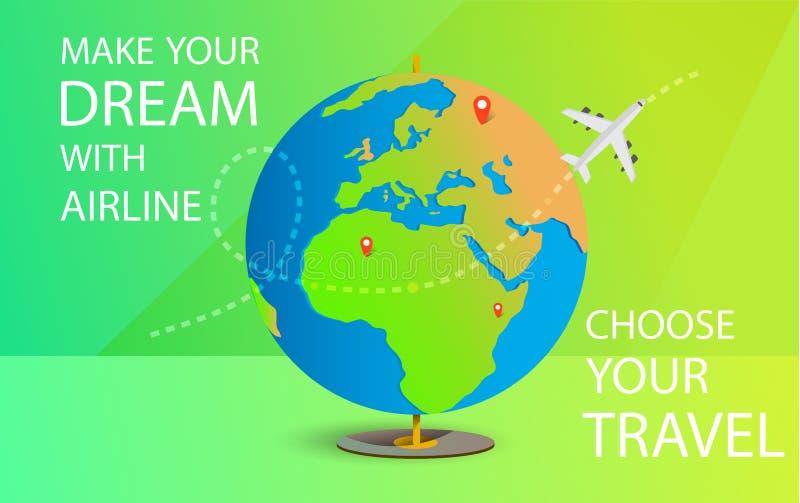 Faça seu sonho com linha aérea Viagem ao mundo Curso ao mundo f?rias Viagem por estrada tourism Bandeira do curso Abra a mala de  ilustração royalty free