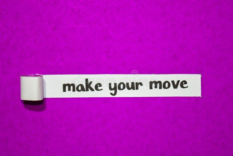 Faça seu texto do movimento, conceito da inspiração, da motivação e do negócio no papel rasgado roxo fotos de stock