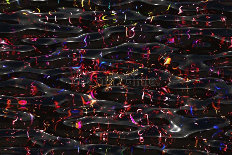 Faça sinal a muitas bolhas coloridas na água da obscuridade do fluxo ilustração stock