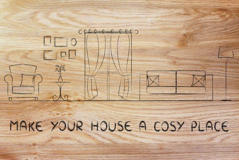 Faça a sua casa um lugar confortável imagem de stock