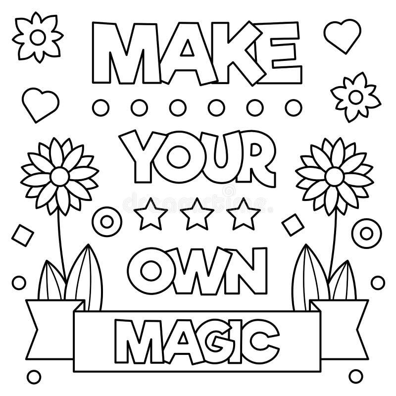 Faça sua própria mágica Página da coloração Ilustração do vetor ilustração royalty free