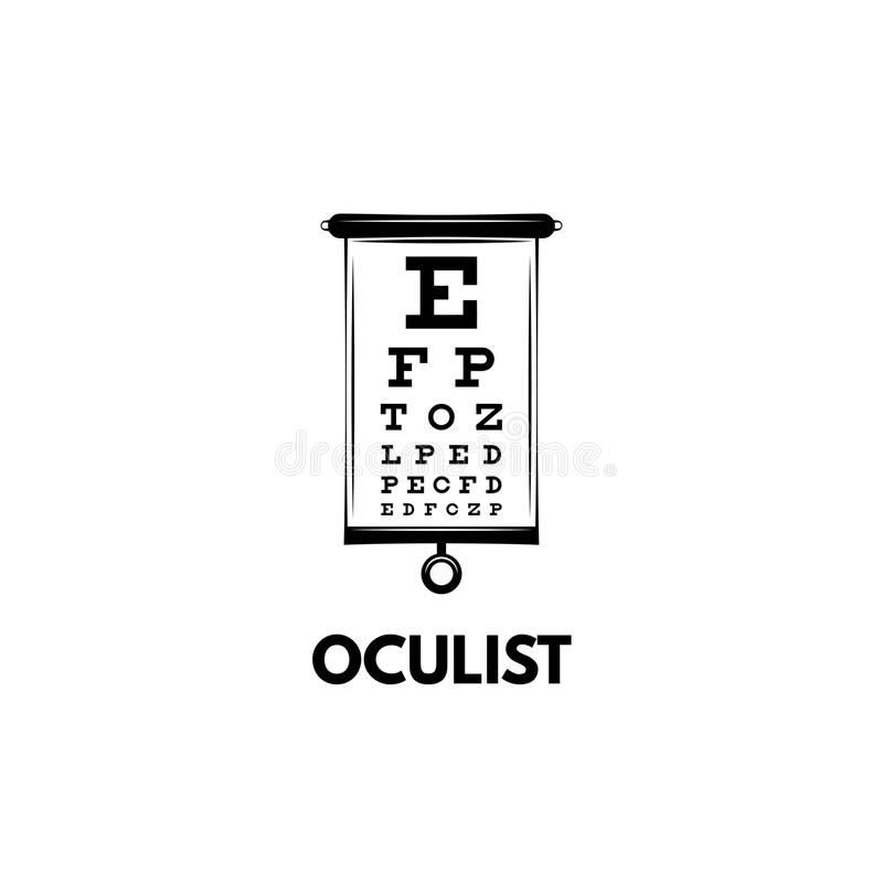 Faça um mapa da tabela do teste com letras para o exame de olho Teste da carta de olho para o doutor do oftalmologista Vetor ilustração stock