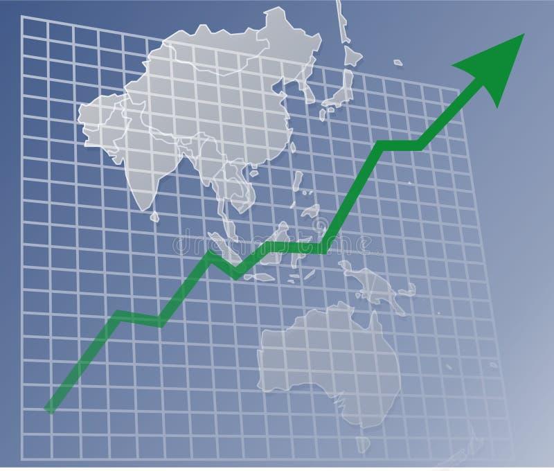 Faça um mapa de Ásia acima ilustração stock