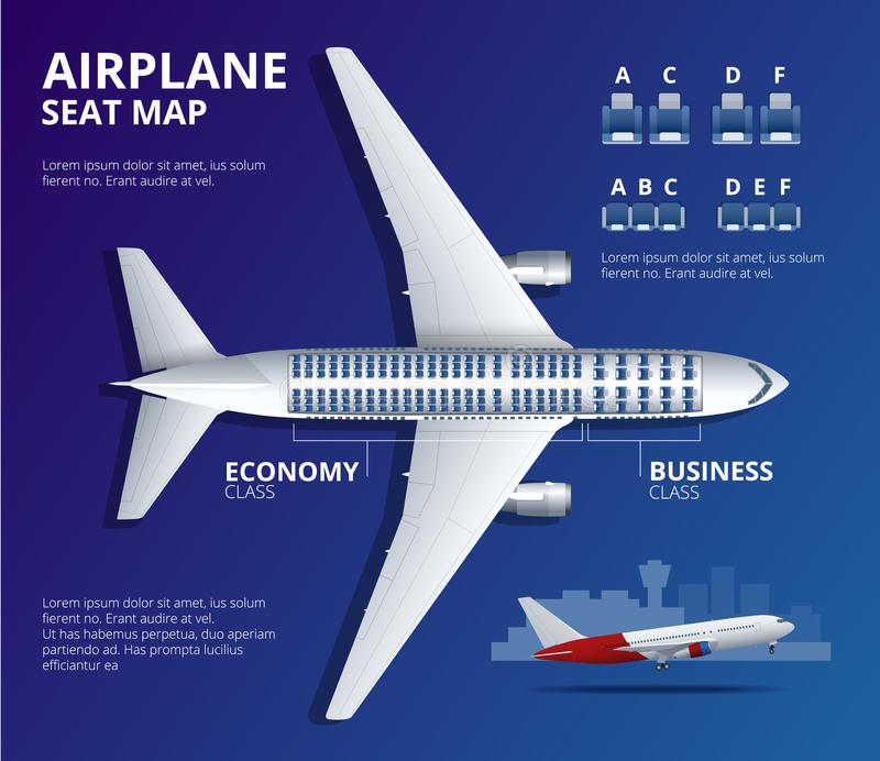 Faça um mapa do assento do avião, plano, do passageiro dos aviões O avião assenta a opinião superior do plano Avião das classes d ilustração do vetor