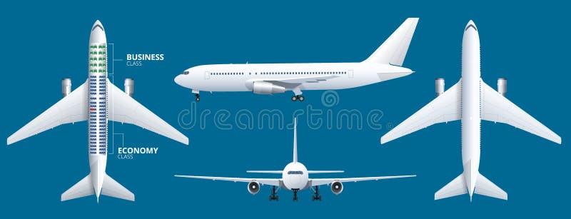 Faça um mapa do assento do avião, plano, do passageiro dos aviões O avião assenta a opinião superior do plano Avião das classes d ilustração stock